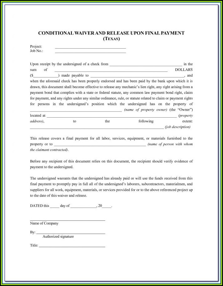 Free Blank Lien Waiver Form Wisconsin
