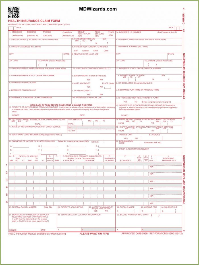 Free Cms 1500 Form