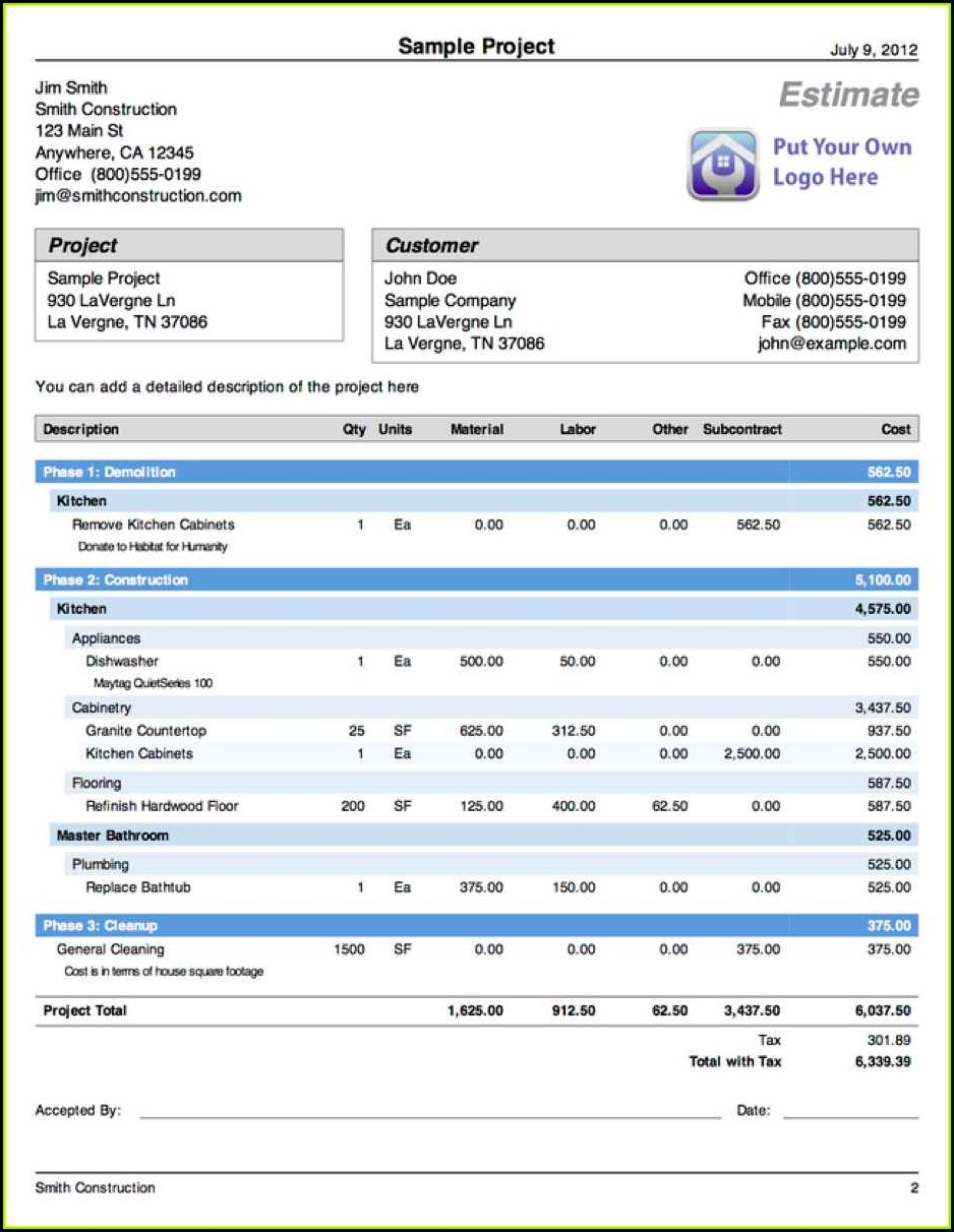 Free Download Construction Estimate Forms