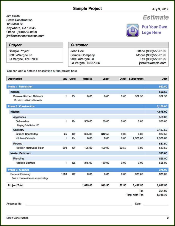 free construction estimate template pdf