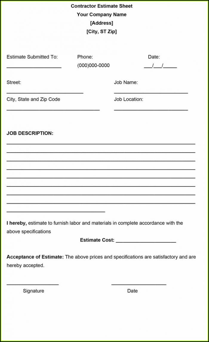 Free Download Contractor Estimate Forms