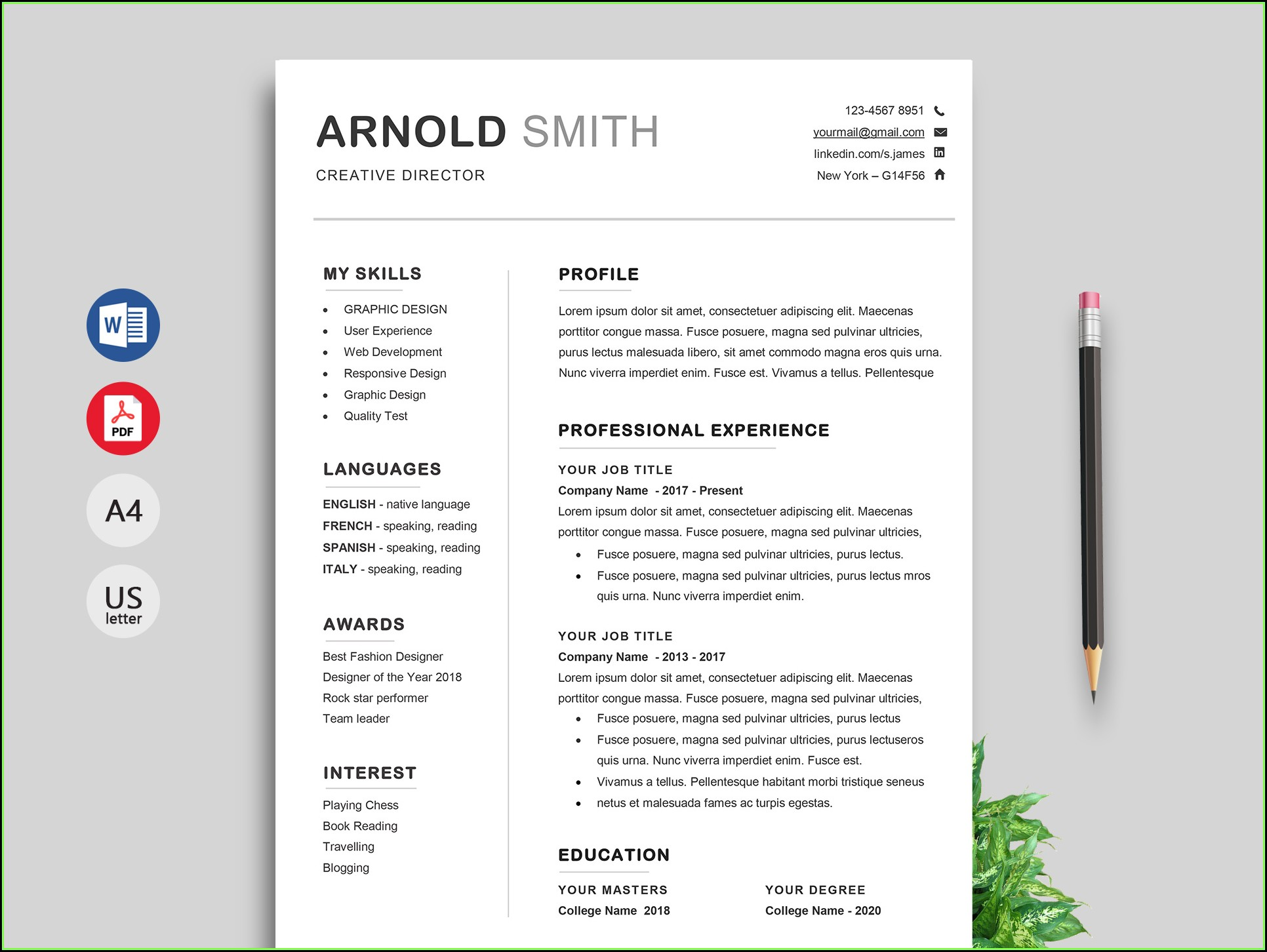 Resume Templates For Microsoft Word Free Download لم يسبق له مثيل
