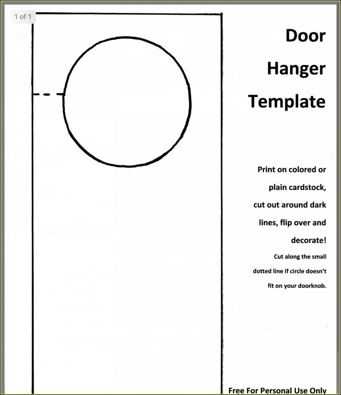 Free Downloadable Door Hanger Templates