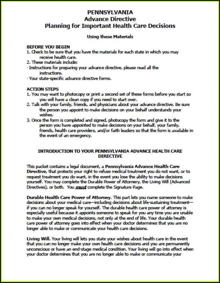 Free Durable Power Of Attorney For Health Care Form Virginia