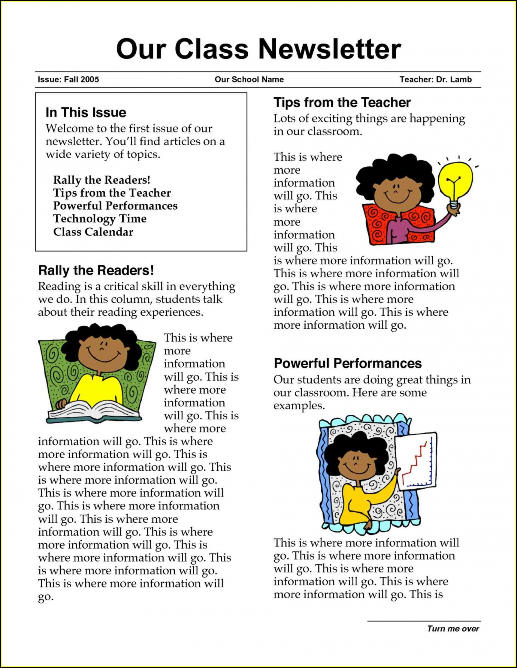 Free Elementary School Newsletter Template