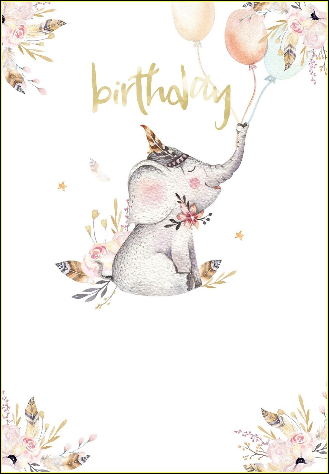 Free Elephant Birthday Invitation Template