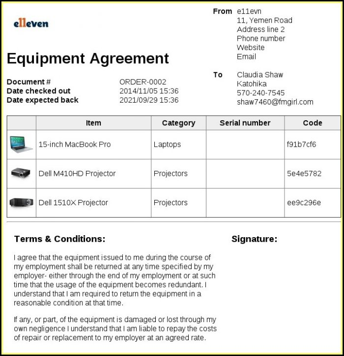 Free Equipment Loan Form Template