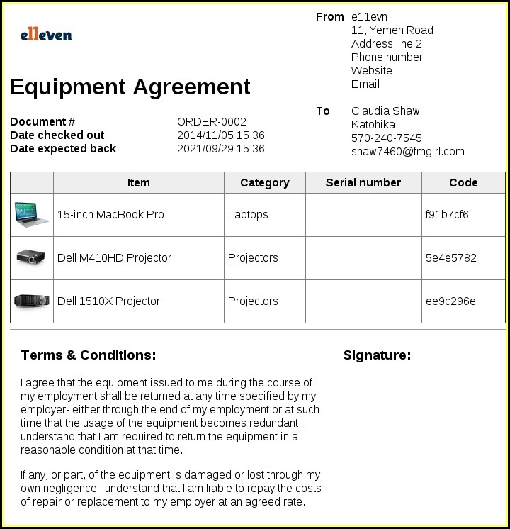 Free Equipment Loan Form Template