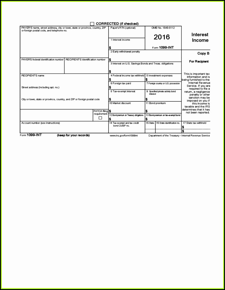 Free Fillable Forms 1099 Int