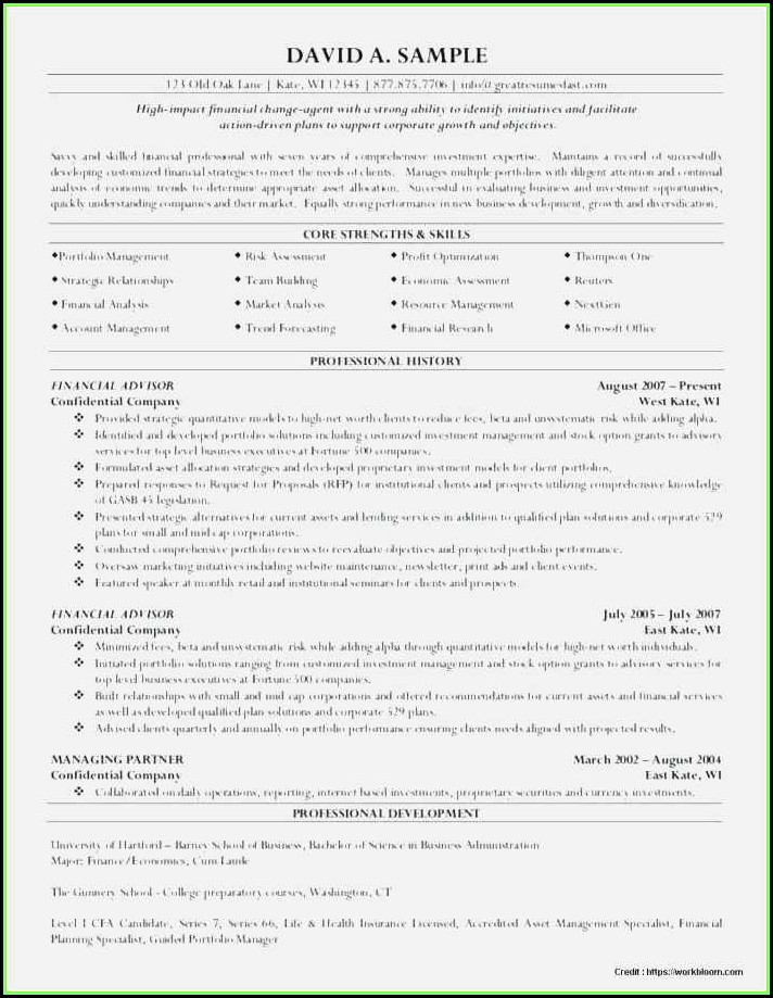 Free Financial Advisor Resume Template