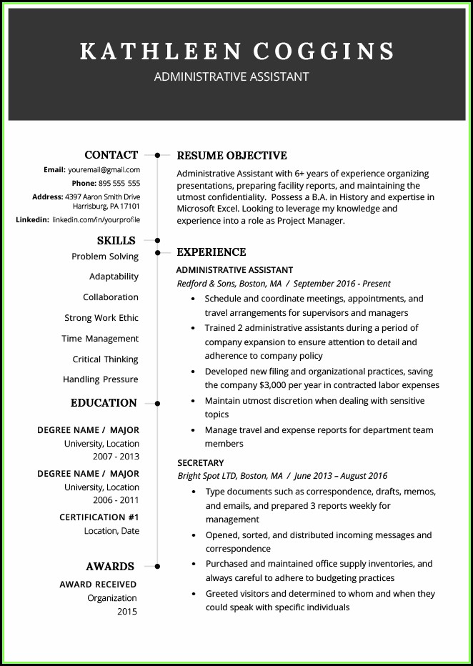 Free Functional Resume Template 2019