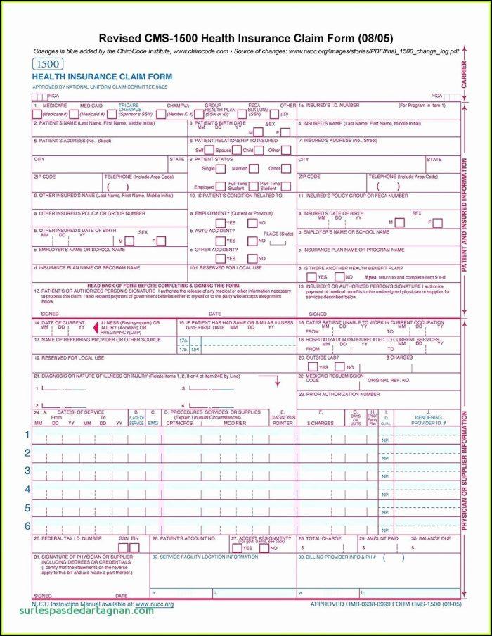 Free Hcfa 1500 Claim Form Template
