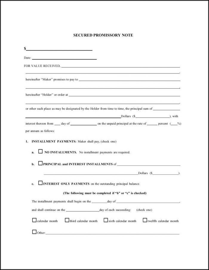 Free Loan Promissory Note Template