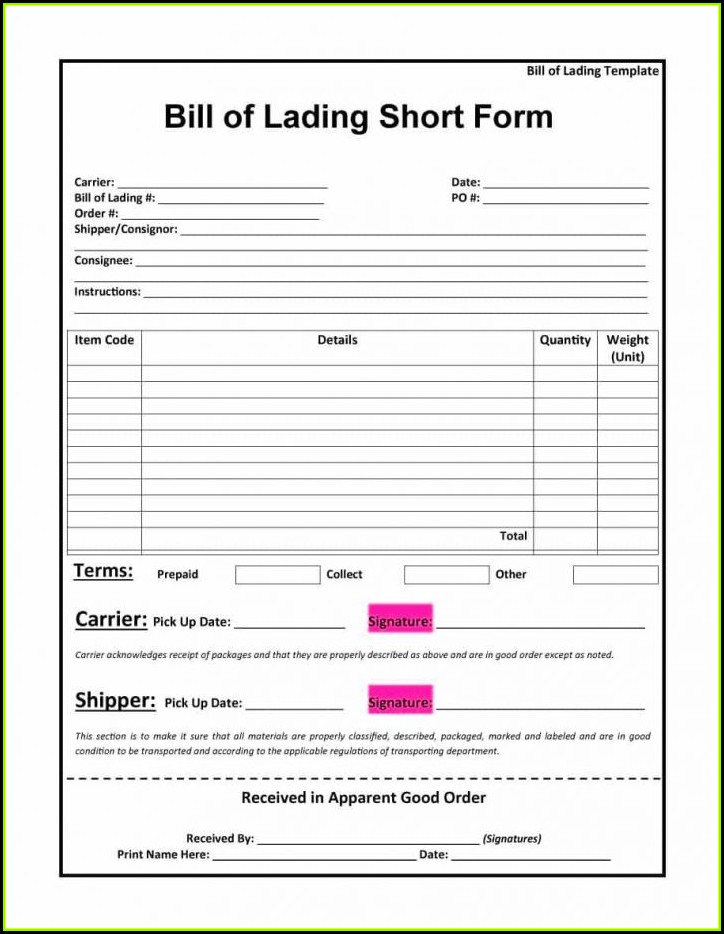 It's just a picture of Printable Bill of Lading Form regarding bol