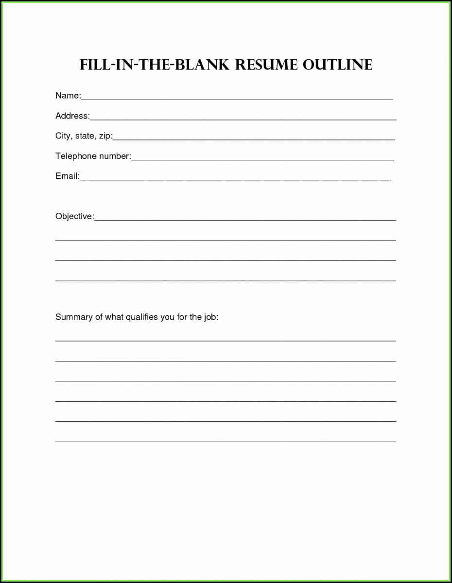 Free Printable Blank Resume Form