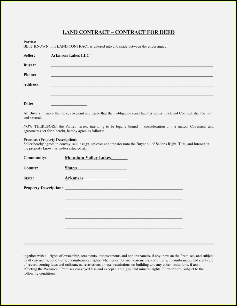 Free Printable Land Contract Form Michigan