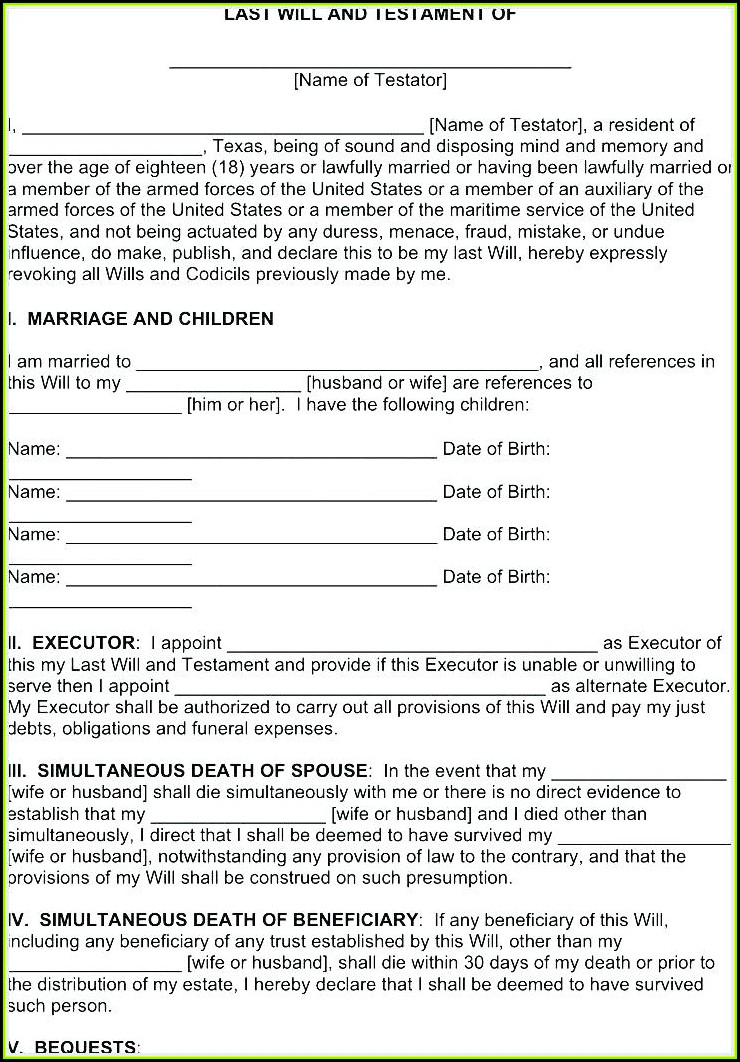 Free Printable Last Will And Testament Forms Canada