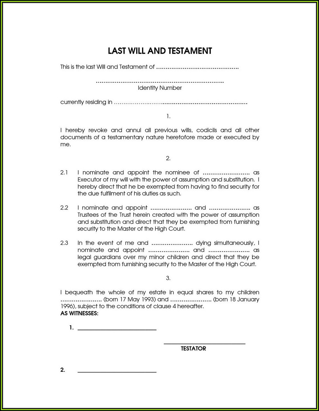 Free Printable Last Will And Testament Forms Nz
