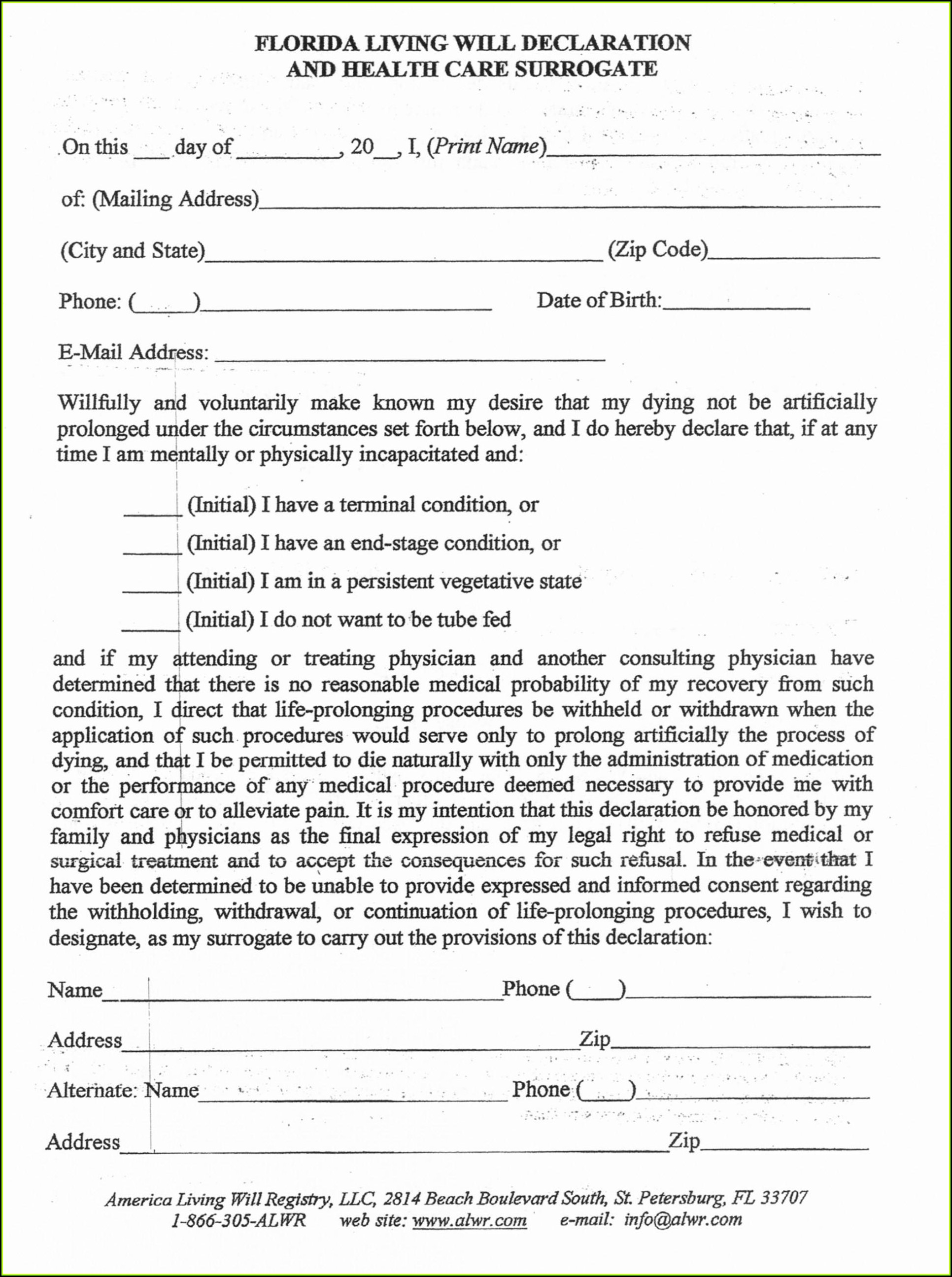 Free Printable Last Will And Testament Forms Washington State