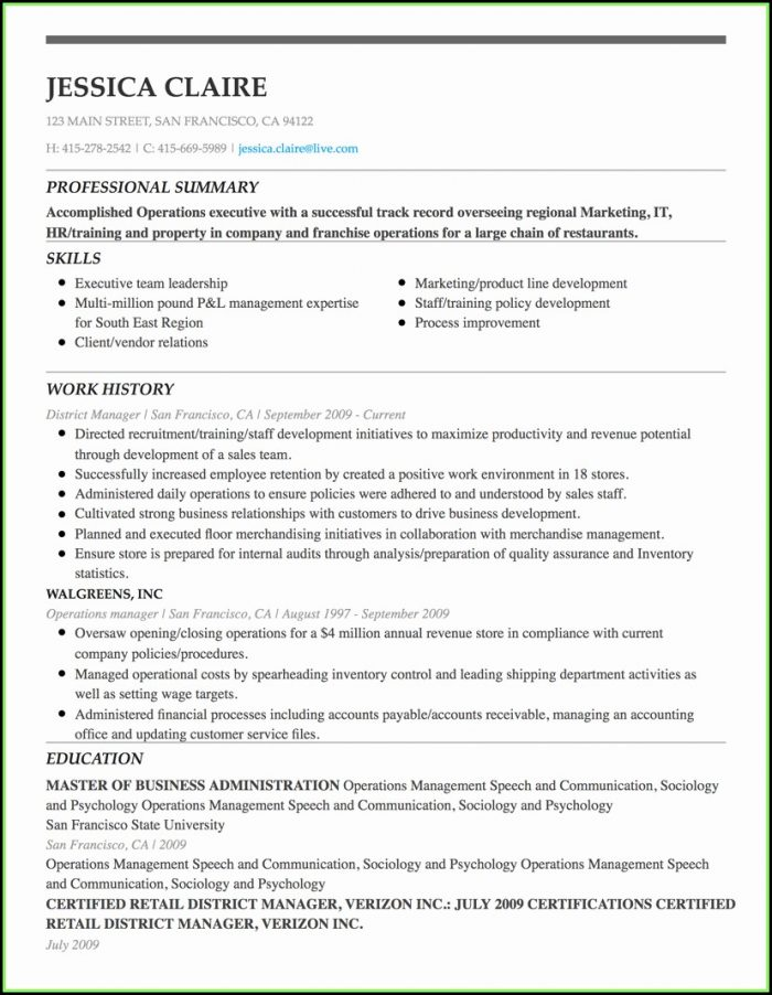 Free Printable Professional Resume Builder