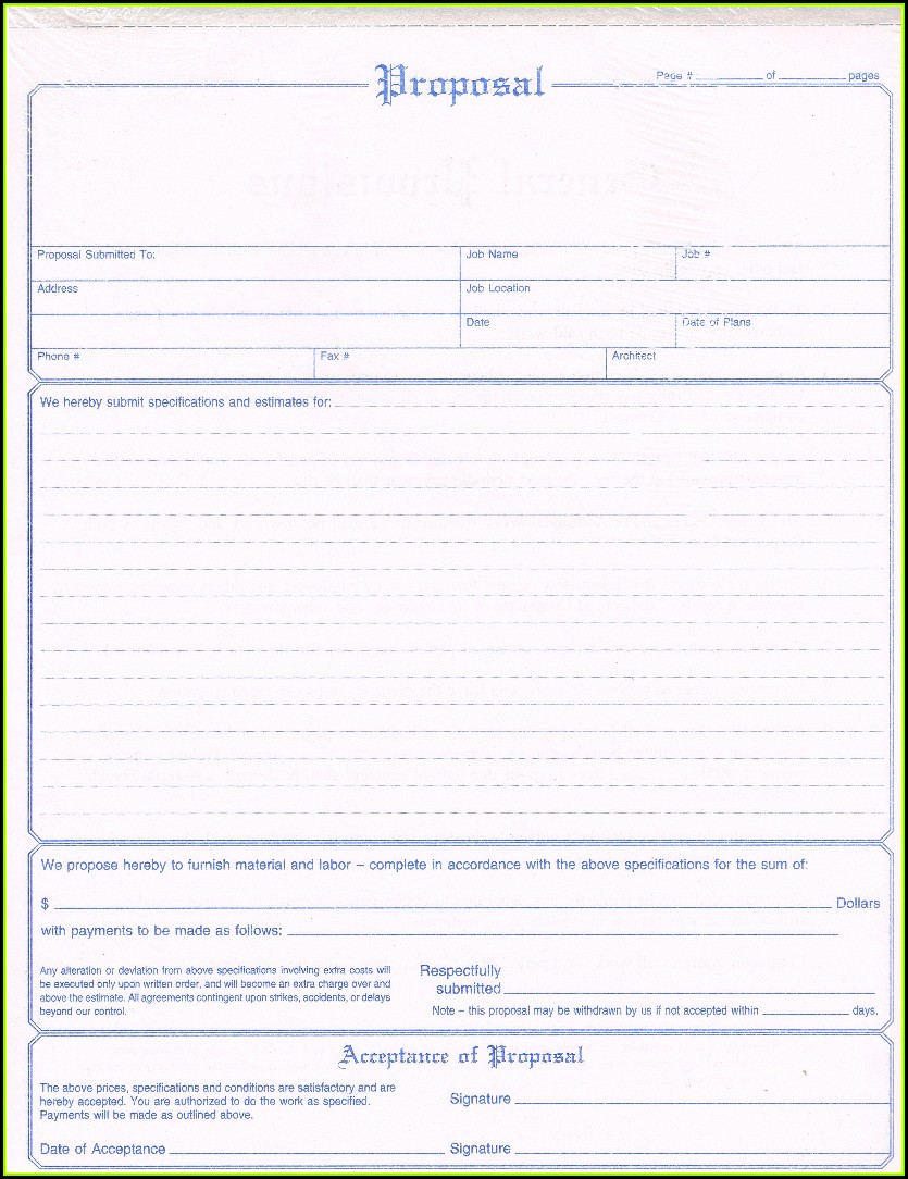 Free Printable Proposal Forms