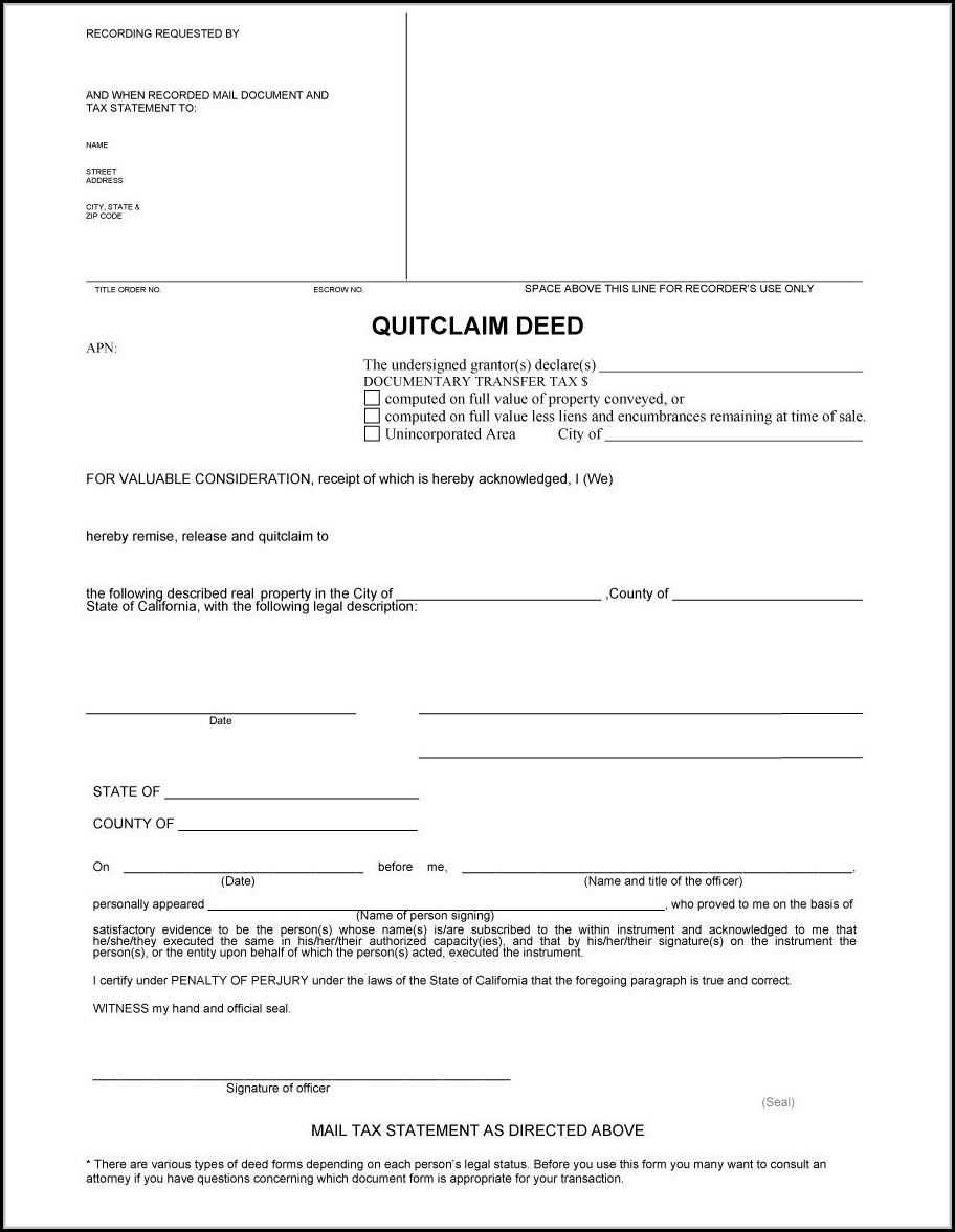 Free Printable Quit Claim Deed Form Georgia