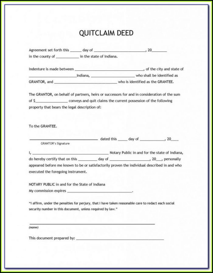 Free Printable Quit Claim Deed Form Indiana