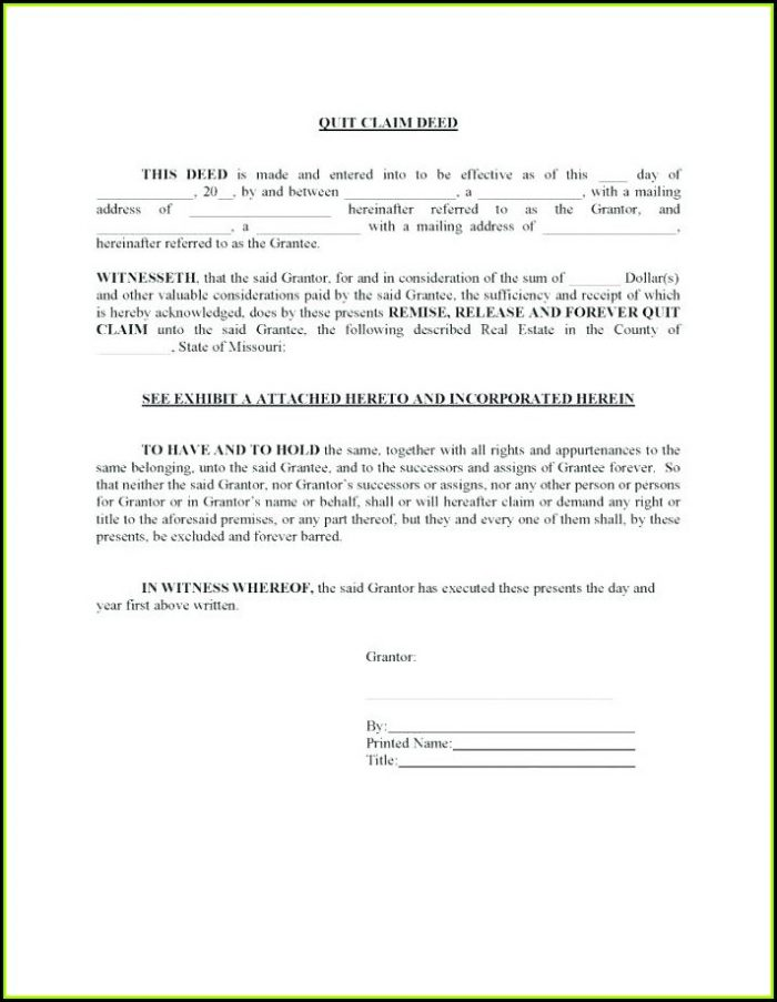 Free Printable Quit Claim Deed Form Texas