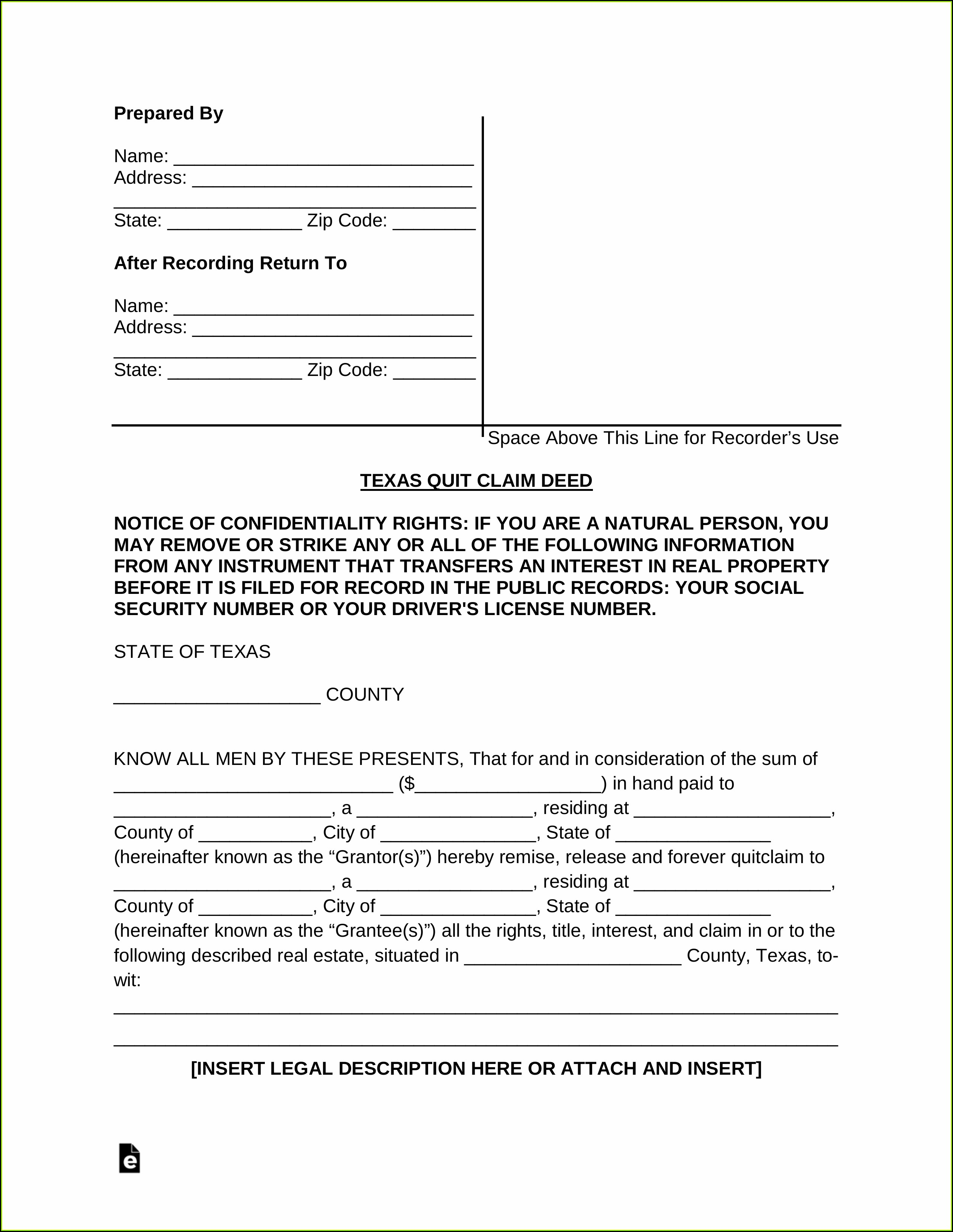Free Printable Quit Claim Deed Form Wisconsin