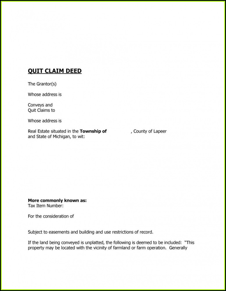 Free Printable Quit Claim Deed Forms