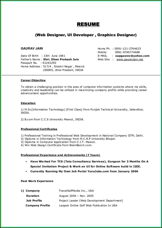 Free Printable Resume Builder India