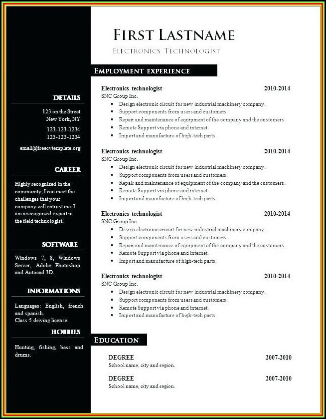 Free Resume Examples 2018