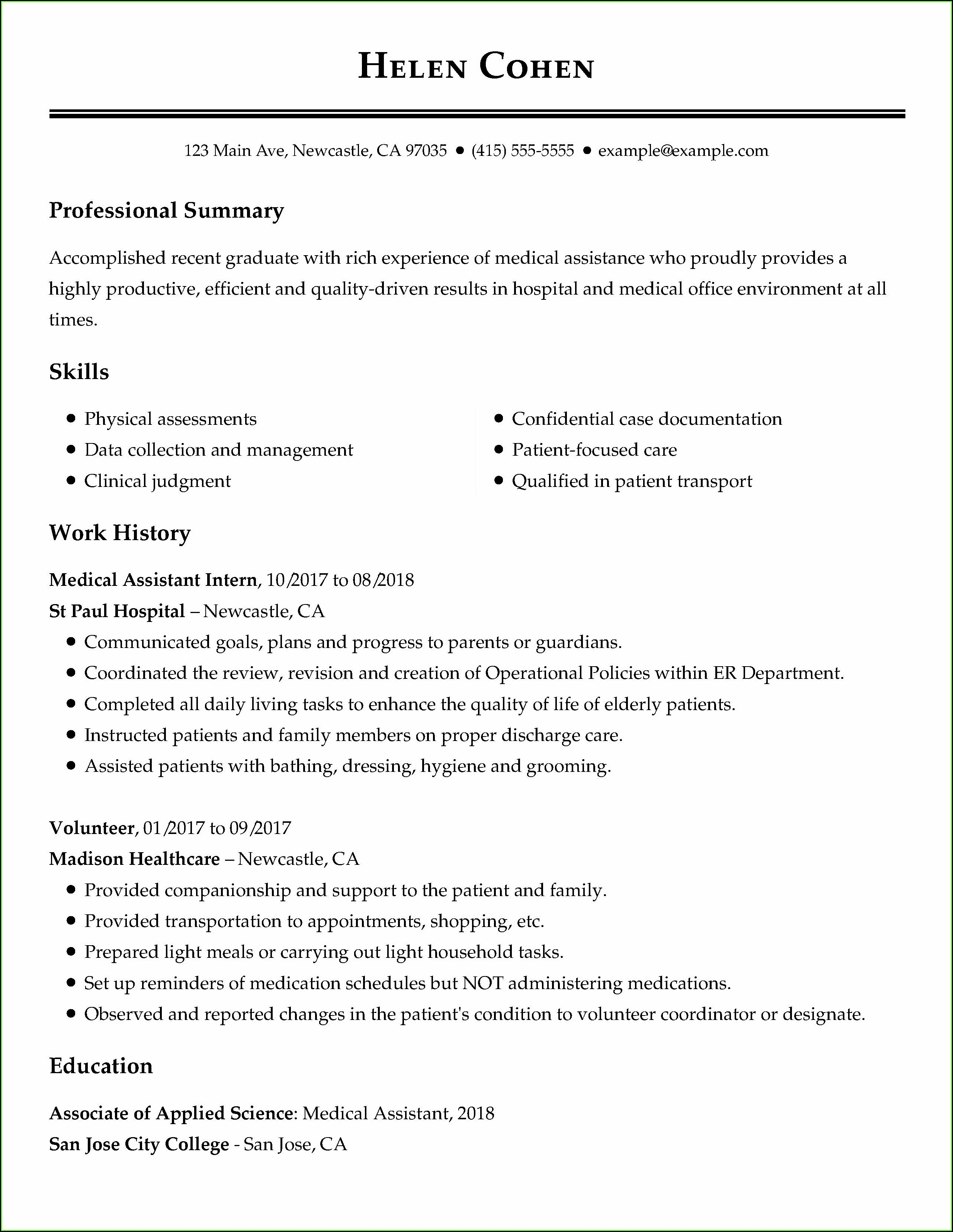 Free Resume Sample