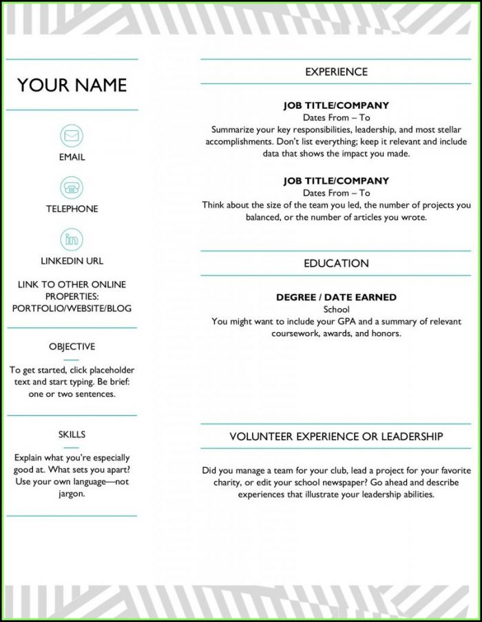 Free Resume Template For Microsoft Word