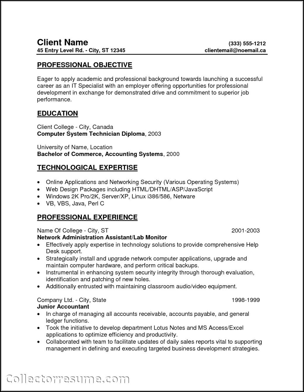 Free Resume Templates For Entry Level Jobs