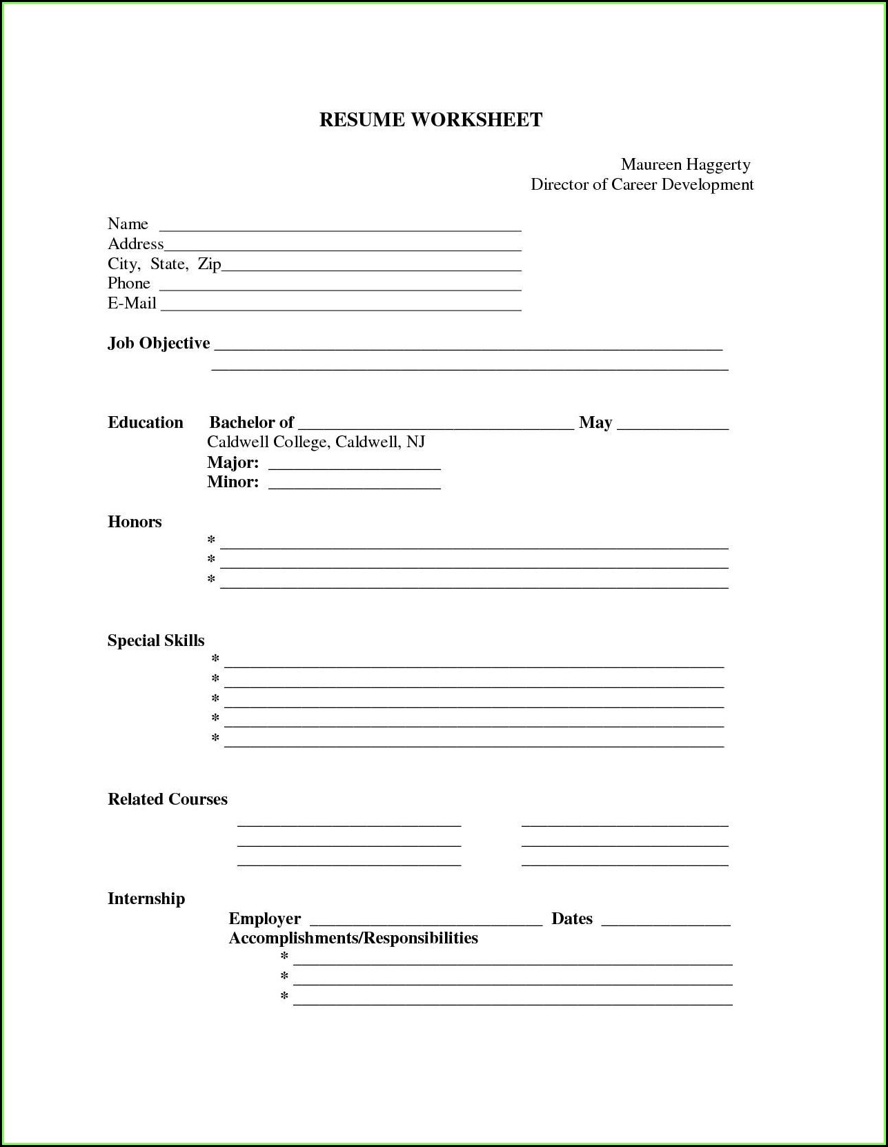 Free Resumes To Print