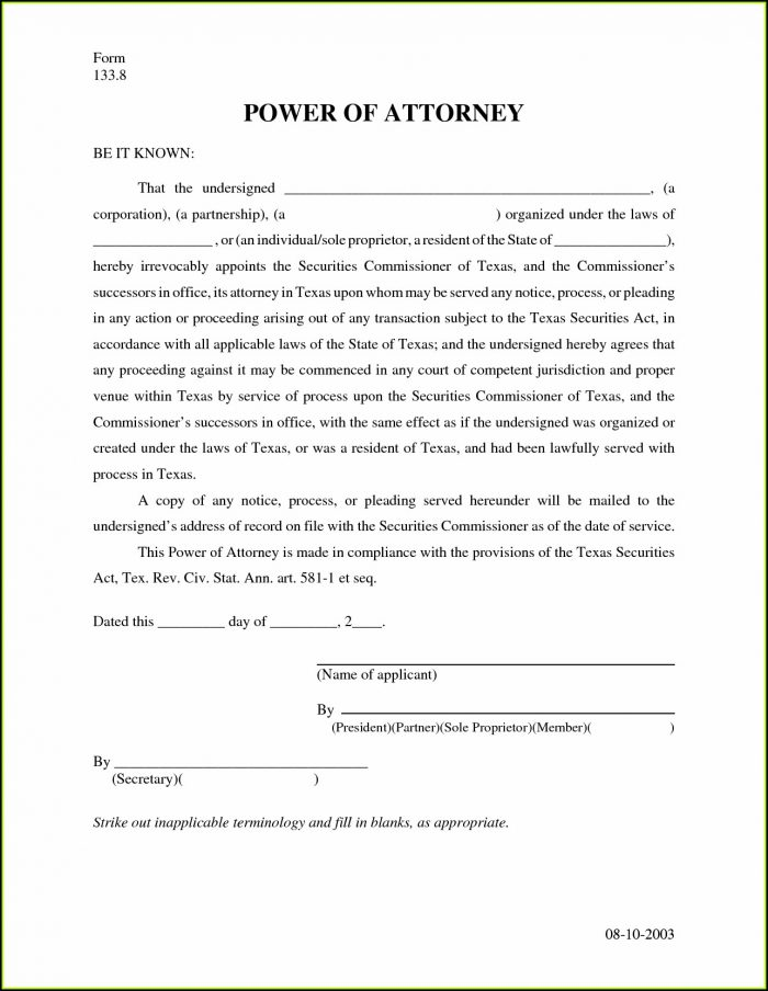 Free Revocation Of Power Of Attorney Form
