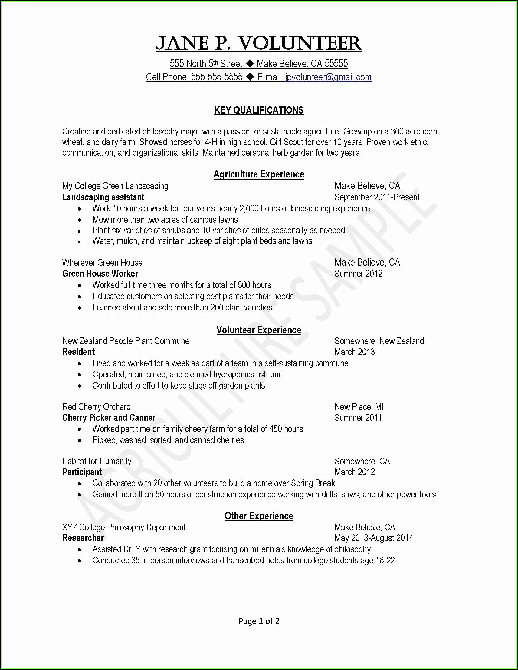 Free Sample Resume For Highschool Students