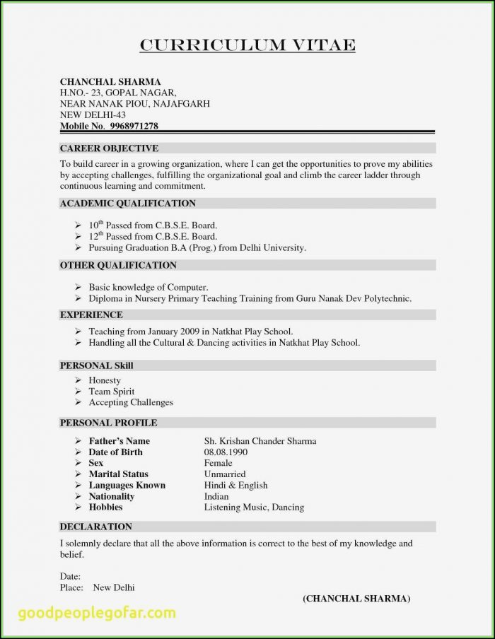 Free Samples Of Basic Resumes