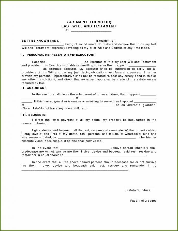 Free Standard Last Will And Testament Form