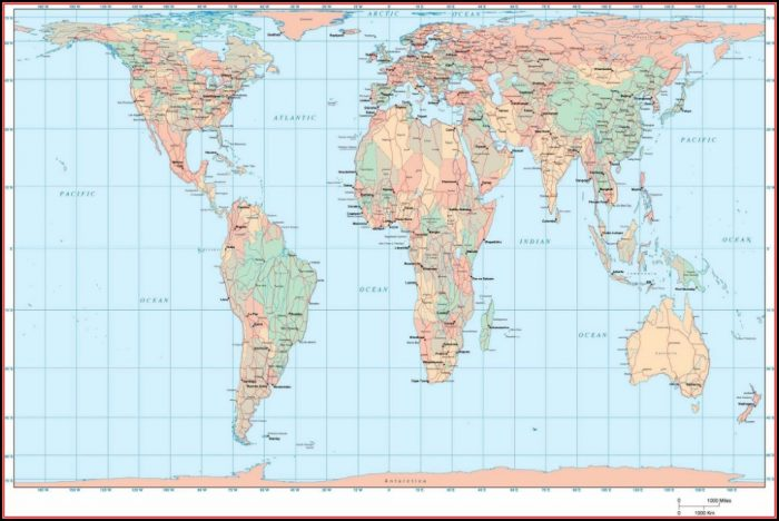 Gall Peters Projection Map Of The World