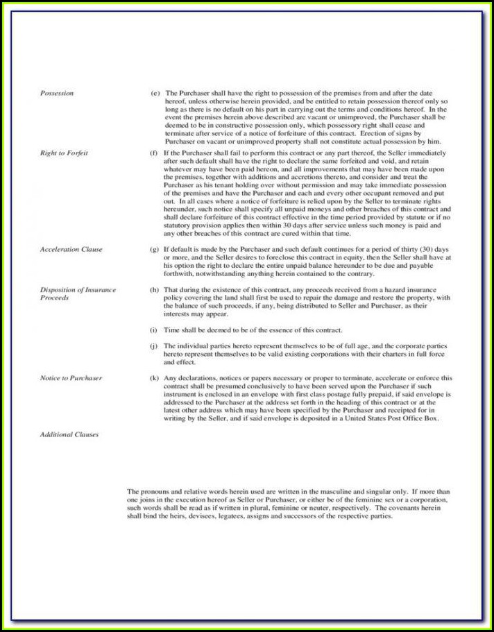 General Land Contract Form Michigan