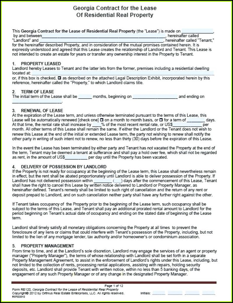 Georgia Renters Lease Agreement Form