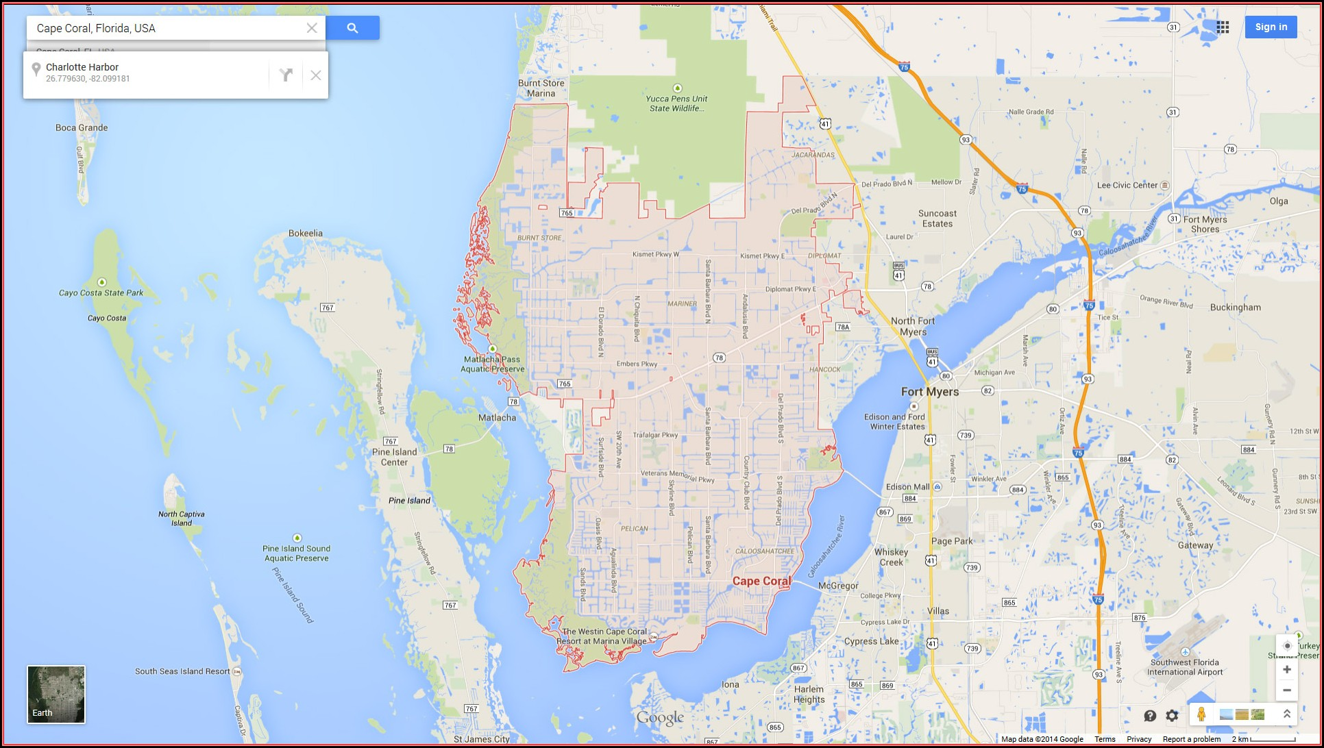 Google Map Cape Coral Florida