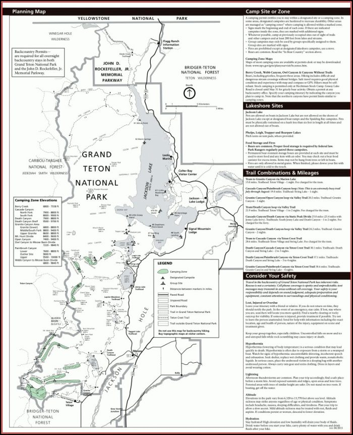 Grand Teton National Park Map Hiking Trails
