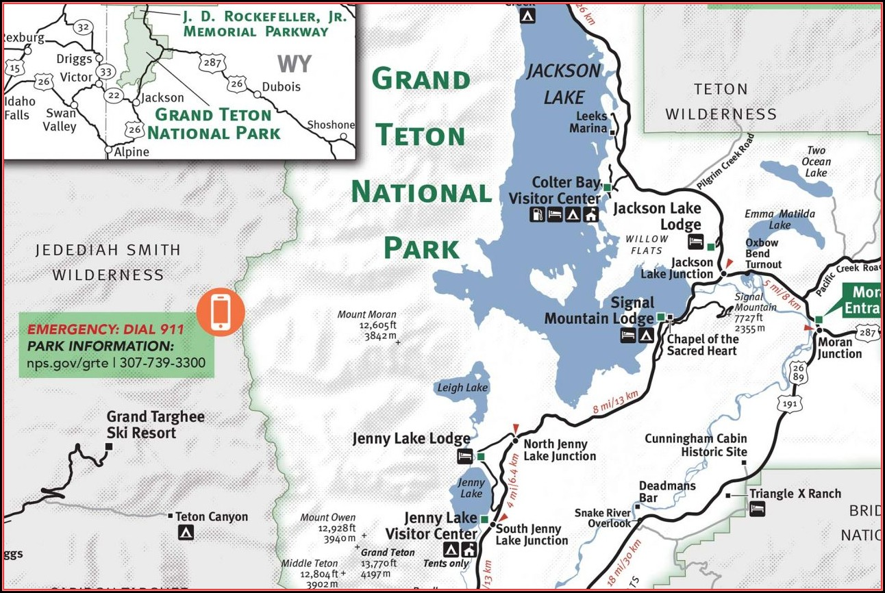 Grand Teton National Park Map With Mileage