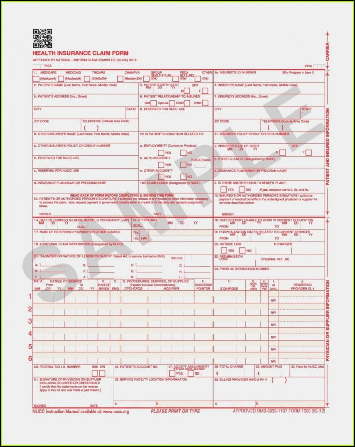 Hcfa 1500 Claim Form Sample