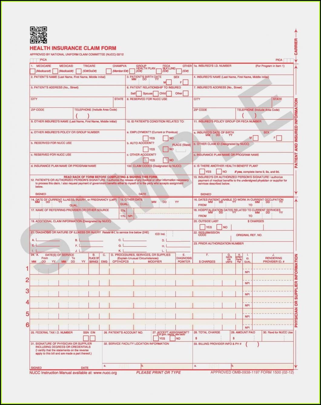 Hcfa 1500 Claim Form Sample