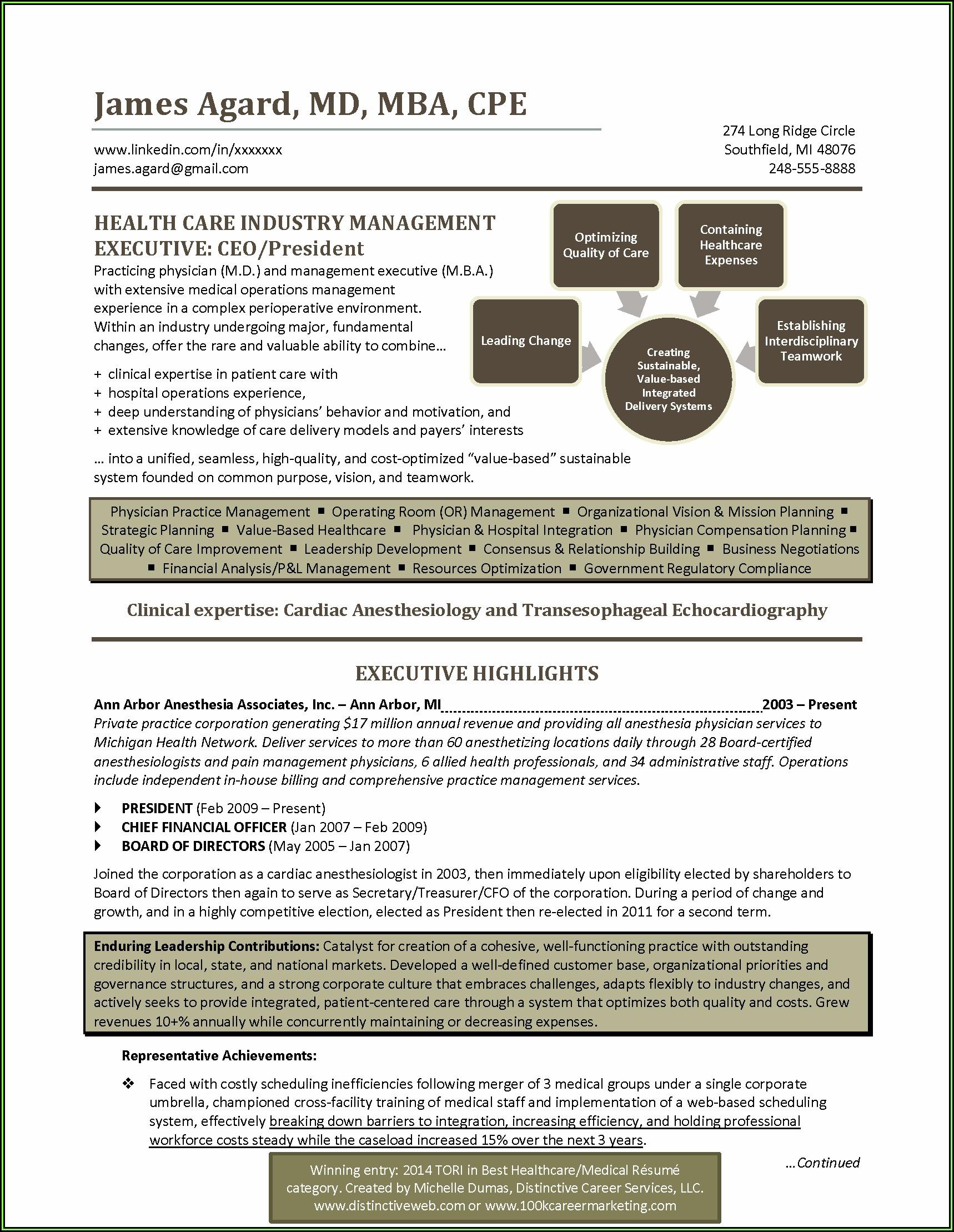Healthcare Executive Resume Examples