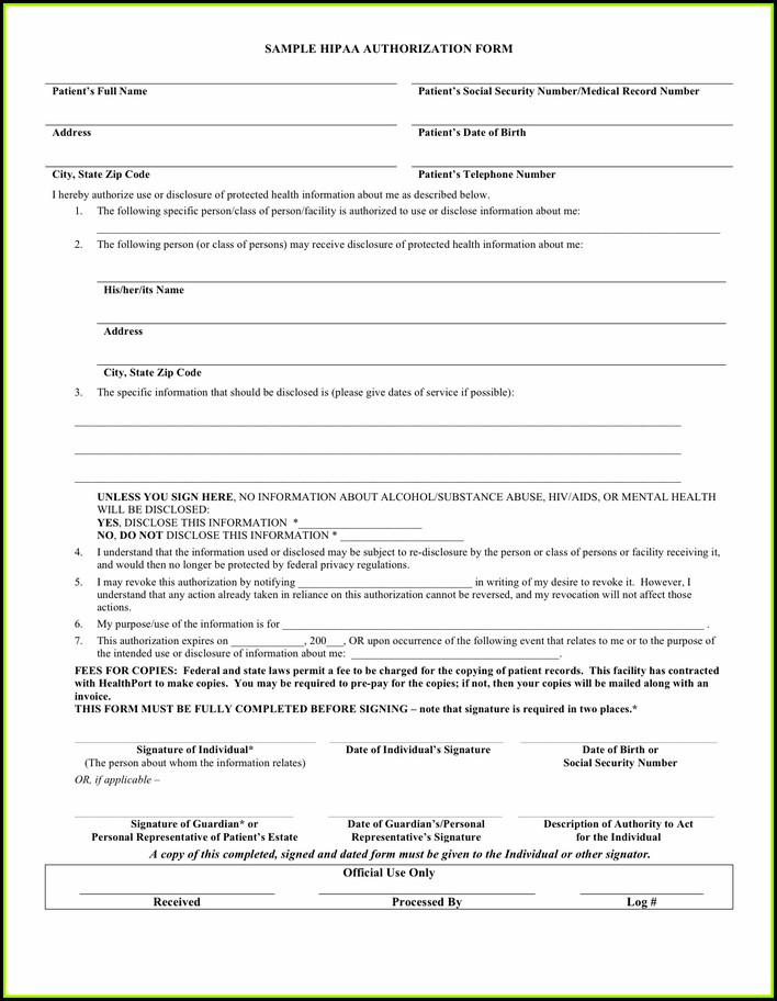 Hipaa Sample Form